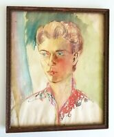 """Vintage Watercolor Portrait Young Man 15"""" by 18"""" Signed MLK"""
