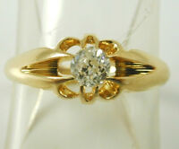 DIAMOND SOLITAIRE RING VICTORIAN 18CT GOLD DATED 1896 SIZE L 1/2 0.26 CARATS