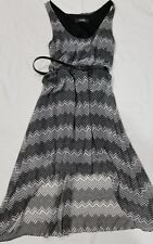 Zouk Womens Dress Size Small Sheer Print Overlay Belted Hi-Lo Black White -155