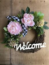 Wreath For Front Door Spring Summer Farmhouse Decor Modern Rustic Welcome Sign