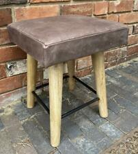 Brown Leather Square Stool 45cm High Wood Legs Iron Footrests - Vintage Style