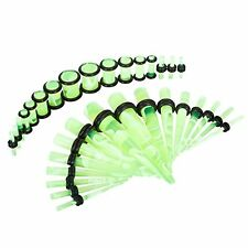 Gauges Set Tapers and Plugs 14G-0G Neon Green Marble Style Stretching Kit 32PC