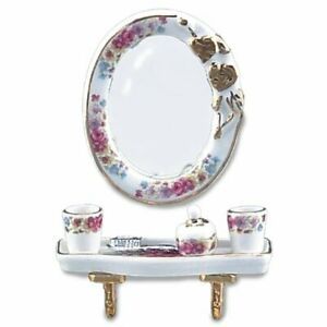 Reutter Porcelain - Dollhouse Miniature Dresden Rose Oval Mirror Bathroom Set