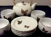 VINT RARE TAKAHASHI BUTTERFLIES TEAPOT 4 CUPS SM PLATES HAND DECORATED N GOLD