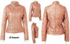 veste femme veste cuir écologique matelassé rose métallisé taille L