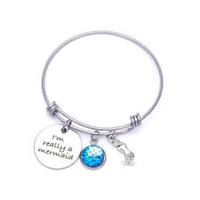 Mermaid Bracelet Tiny Fish Scale Charm I'm Really a Mermaid Message Silver Blue