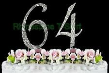 NEW Large Rhinestone  NUMBER (64) Cake Topper 64th Birthday Party Anniversary