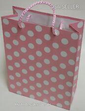 "2 Gift Bags Paper Polka Dots w/Silk String Handle Gift Bag 9""H x 7""W x 3.25""D"