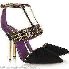 Emilio PUCCI BLACK & GOLD Suede & cuoio scarpe Court NUOVO CON SCATOLA