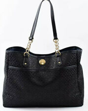 TOMMY HILFIGER Monogram Fabric City Tote Bag, Handbag, Black