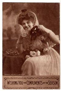 102120 VINTAGE POSTCARD PRETTY LADY TOASTS ~ MASQUERADE 1909