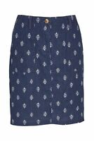 BN LADIES SUMMER NAVY WHITE LINEN BLEND TREE PRINTED SKIRT 6~16 ONLY £12.99