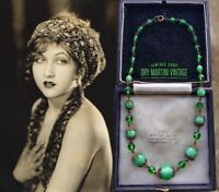 VINTAGE ART DECO BOHEMIAN SATIN GLASS MINT GREEN BEADS NECKLACE SIGNED CZECH