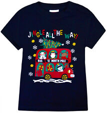 Baby Girls Boys Christmas T shirts Kids Xmas Top Red Navy Age 3 - 24 Months
