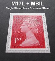 NEW AUG 2017 1st Class M17L + MBIL MACHIN SINGLE STAMP from Business Sheets