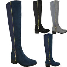 Womens Ladies Knee High Boots Winter Flat Wide Leg Stretchy Low Heel Shoes Size