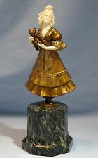 Art Deco Gilt Bronze Sculpture/Figure of Young Lady Holding Kitty after F Preiss