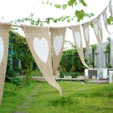 Jute Girlande Hochzeit Vintage Deko Fahne Heiraten Herzen Leinen Kette Neu Hänge