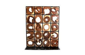 "75"" T Modern Room Screen One of a Kind Freeform Acacia Wood Slices Metal Grid"