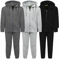 Kids 2-Piece Plain Tracksuit Basic Fleece Jogging Bottoms Hooded Top 3-16 Years