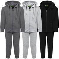 Kids 2-Piece Plain Tracksuit Basic Fleece Jogging Bottoms Hooded Top 3-16 Years