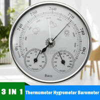 130MM 970~1040hPa Wall Hanging Weather Station Thermometer Barometer  US