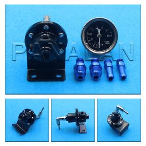 HQ High Performance Car Pressure Gauge Adjustable Fuel Pressure Regulator Black