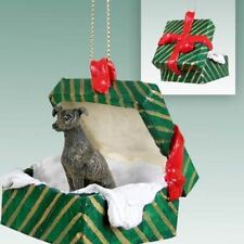 Greyhound Brindle Dog Green Gift Box Holiday Christmas ORNAMENT