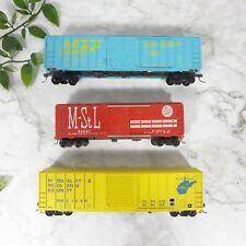 Lot of 3 Vintage Mixed Brand Red, Yellow, Blue Plastic HO Scale Train Cars GREAT