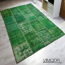 vintage patchwork tapis,original noué à la main Tapis en Laine,vert NEUF 160X230