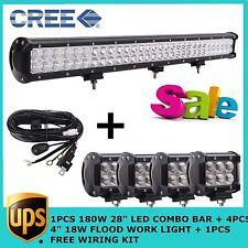 "180W CREE 28"" COMBO LED LIGHT BAR+4X 4"" 18W Flood Free Kit 4WD JEEP Off-road SUV"