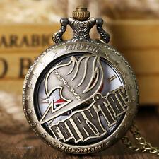 Fairy Tail Necklace Kid Gift Natsu Dragneel Steampunk Quartz Bronze Pocket Watch