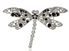 Fly Wing Dragonfly Insect Brooch Cute Mod Black Crystal Rhinestone Filigree