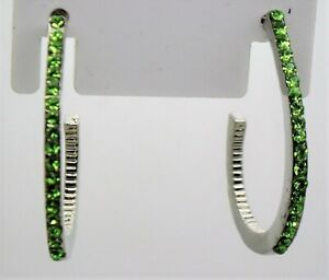 modern oval shape green color silver tone fashion jewelry hoop Earrings lot c264