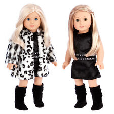 Glamour Girl, Doll Clothes for 18 inch American Girl, Faux Fur Coat Dress Boots