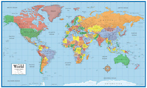 48X78 Huge World Classic Elite Wall Map (Front Laminated)