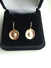 14 Carat Rose Gold Diamond Disc Earrings Made In Italy