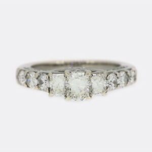 Gold Diamond Ring- 1.70 Carat Radiant Cut Diamond Trilogy Ring
