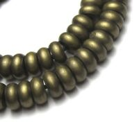 "8"" STRAND OF 63 GORGEOUS SMALL OLD BRASS DISK AFRICAN BEADS"