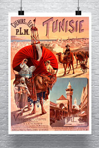 Tunisia Africa Vintage Art Nouveau Travel Poster Giclee Print on Canvas or Paper