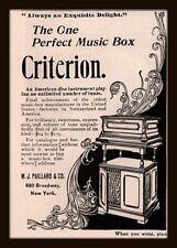 1898 D AD  CRITERION MUSIC BOX PAILLARD CO  NOUVEAU DESIGN DISC INSTRUMENT