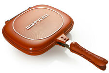 Brand New Happycall Double sided pan pressure red frying pan for fish cooking