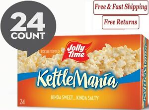 JOLLY TIME Kettlemania Microwave Kettle Corn Popcorn, 24 Ct 3 Oz. Bags