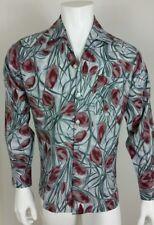 Joel California Mens Shirt Size M Floral Long Sleeve Button Front Gray Tone VTG