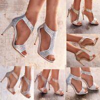 Ladies Diamante High Heel Sandals Shoes T-bar Evening Party Wedding UK size 3-8