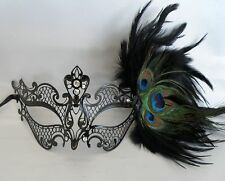 Black Metal With Peacock Feathers Masquerade Mask - Ribbon Tie On