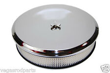 "CHEVY FORD deep dish 14"" CHROME STEEL AIR CLEANER SET HI-LIP BASE paper  FILT"