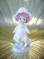 RARE VTG Napco Mary had a Little Lamb Sheep Girl w/ Pink Hair Easter Figurine