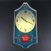 """Rare Meister Brau Clock Lighted Chicago Beer Sign Advertising Working 20"""" x 10"""""""