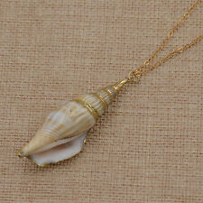Natural Sea Conch Shell Pendant Necklace BOHO Beach Jewelry Women Fashion Decor